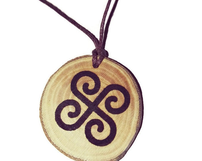 Fertility Symbol Bashkort Sun Necklace Charm Natural Wooden Handmade Custom Personalised Engraved Eco Friendly jewellery #GiftForHer #Etsy