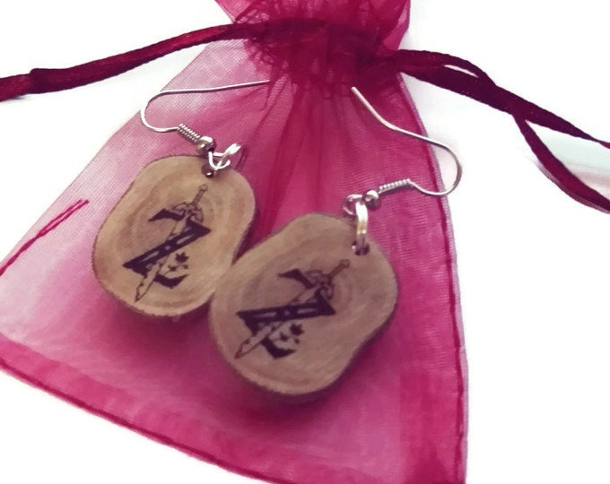 Bespoke Zelda Inspired Earings Natural Earrings  Handmade Brown Wooden Boho Eco Friendly Unique Jewelry Charm Engraved Wood Jewellery
