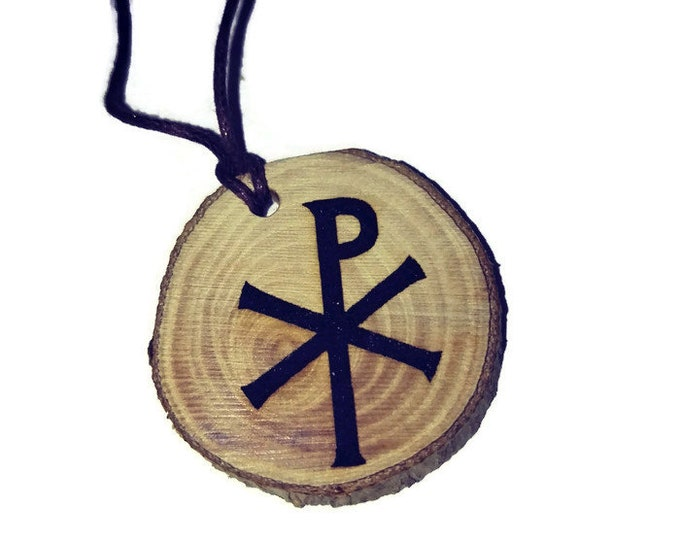 Christogram Jesus Christ Religious Christan  Necklace Charm Wooden Handmade Personalised Engraved Eco Friendly jewellery #GiftForHer#Etsy