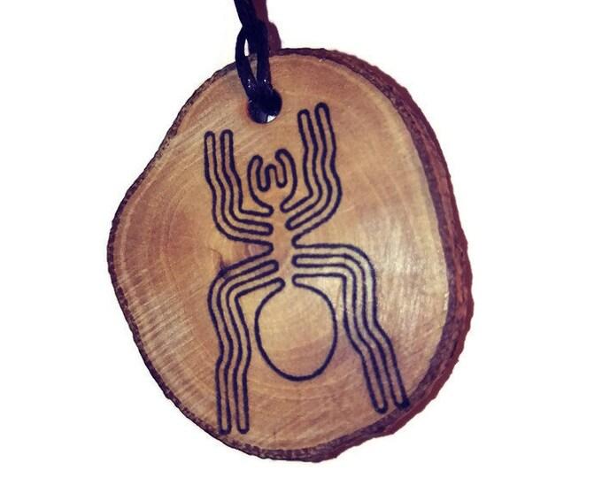 Bespoke Nazca Lines Geoglyph Spider arachnid Handmade Wooden Engraved Necklace Pendant Charm  #Nazca #Geoglyph