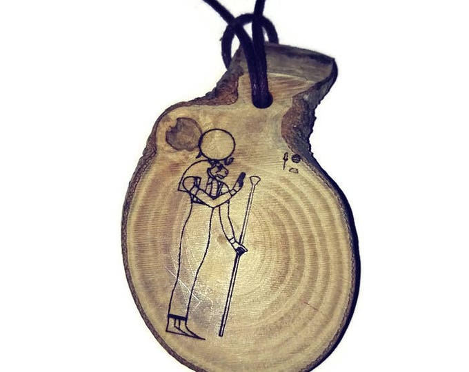 Sekhmet The Powerful One Egyptian Deities God Egyptian Deities God Necklace Wooden Charm Handmade Personalised Charms Wood Hand made Jewelry