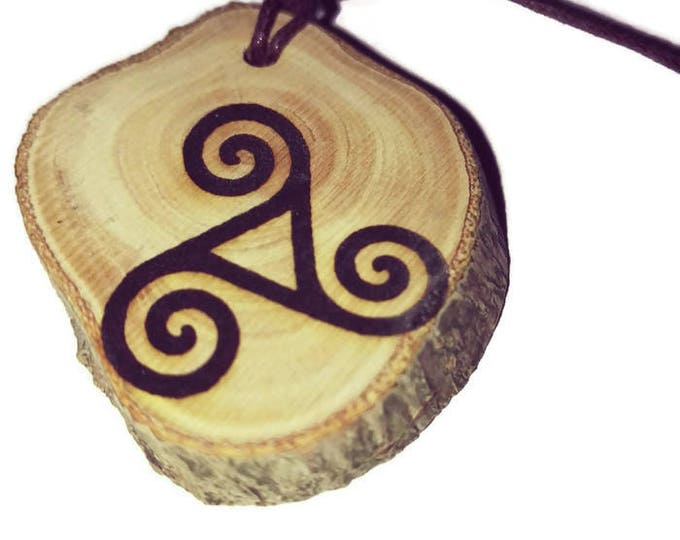 Triskelion Triskele Triple Spiral  symbol neo Pagan Celtic Wiccan Greek  Wooden Natural Handmade Engraved Necklace Charm Can Be Personalised