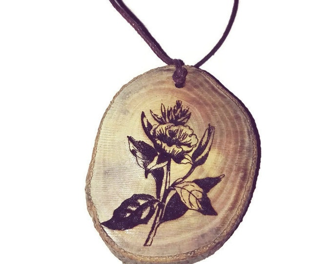 Evening Primrose Flower Floral Necklace Charm Natural Wooden Handmade Custom Personalised Engraved Eco Friendly jewellery #GiftForHer #Etsy