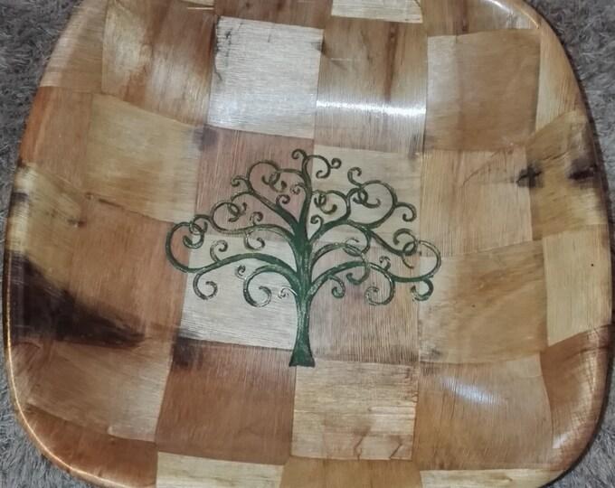 YGGDRASIL Norse Viking  Tree of Life Engraved hand painted NATURAL bamboo wooden bowl unique fruit / egg basket / nik naks viking art #Etsy