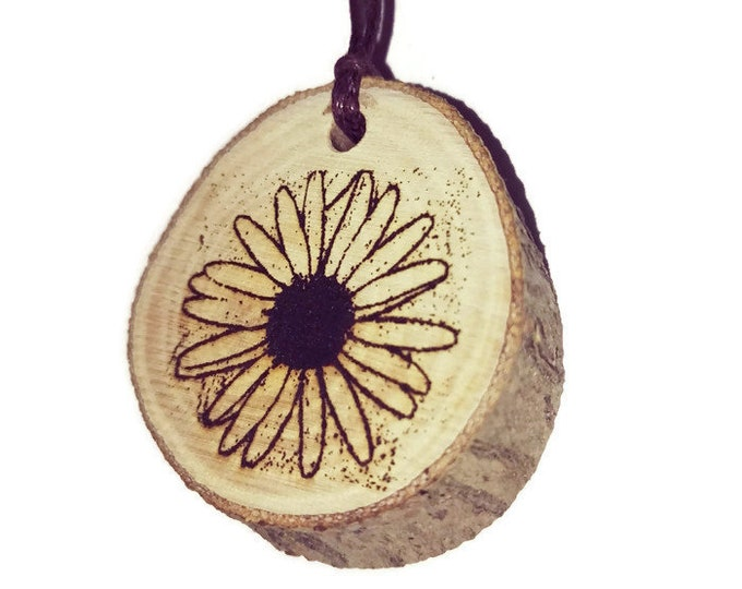 Bespoke Daisy Flower Floral Necklace Charm Wooden Handmade Personalised Engraved Eco Friendly jewellery #GiftForHer  Retrosheep#Charm