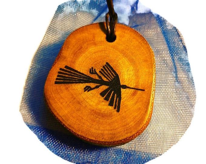 Bespoke Nazca Lines Peru Geoglyph Condor Bird  Handmade Wooden Engraved Necklace Pendant Charm  #Nazca #Geoglyph
