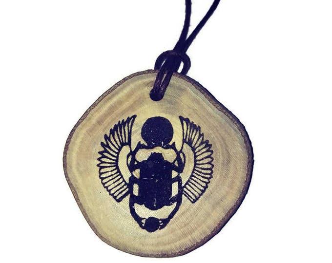 Bespoke Scarab Beetle Egyptian Deities  Necklace Wooden Charm Handmade Personalised Charms Wood Hand made jewellery  Retrosheep#Charm
