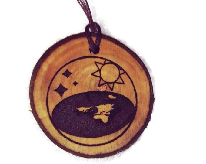 Bespoke Flat Earth Society  Eco Friendly Wooden Eco Friendly Natural Handmade Engraved Necklace Charm / Key Fob  Retrosheep#Charm