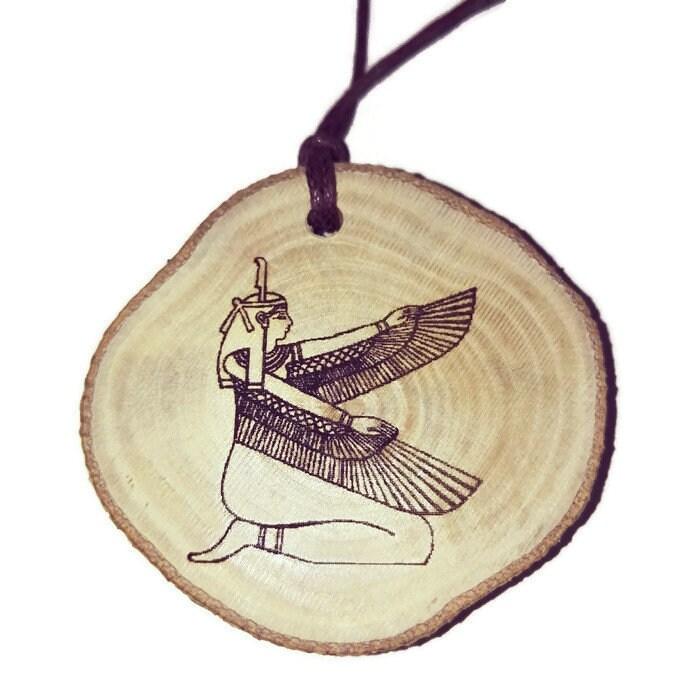 Goddess Isis Hieroglyph Symbol Egyptian Symbol Egypt Necklace Wooden