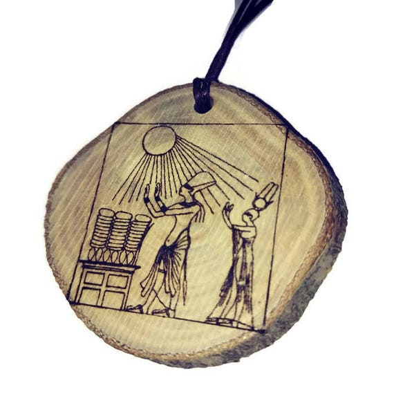 God Ptah Pharaoh Egyptian Hieroglyph Necklace Wooden Charm Handmade Engraved
