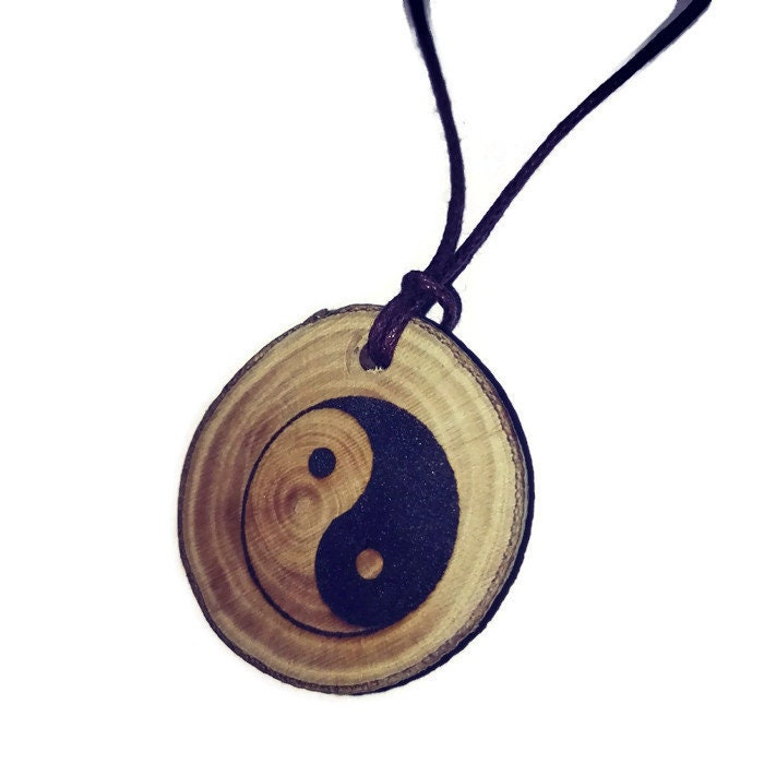 Yin Yang Earth Chinese Peace Symbol Good Luck Necklace Charm Wooden