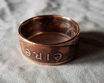 Hand Made Coin Ring - Ireland / Éire 1942 Penny / Pingin - Size W / 21mm