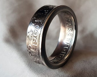 Hand Made Coin Ring - UK / British 1960 Two Shillings / Two Bob -  Size W1/2 / 20,5mm