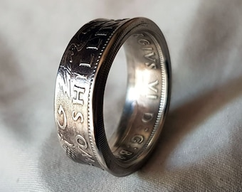 Hand Made Coin Ring - UK / British 1950 Two Shillings / Two Bob -  Size X1/2 / 21mm