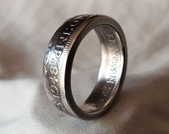 Hand Made Coin Ring - UK / British 1948 Two Shillings / Two Bob -  Size V1/2 / 20mm