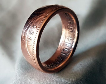 Hand Made Coin Ring - English / British / UK  1965 Britannia Penny / 1d - Size V / 19,5mm
