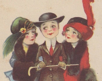 Collectable Vintage Postcard - EB Kemble - Can't You Break Away for a Minute..?