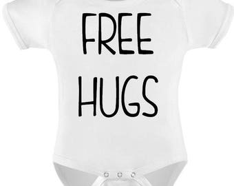 3e9a73067 Funny Baby Bodysuit T-shirt Baby Child Infant Romper FREE HUGS Baby Shower  Gift Personalized Baby Vest Toddler Tee