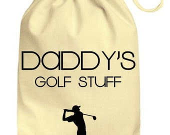 32373cb35112 Personalized Drawstring Cotton Gift Bag Mummys / Daddys Golf Stuff Gift  Bag, Personalised Golfing bits and bobs bag, Cute gift bag funny