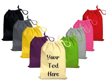 Personalised Custom 100% Cotton Gift Bags With Your Own Text Perfect For weddings, Birthdays, Special Occasion Drawstring Bags