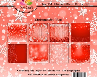 """Craft Paper Pack CHRISTMAS JOY RED 6"""" x 6""""  Decorative Patterned 120gsm Card Making Scrapbooking - 32 Sheets 8 Designs"""