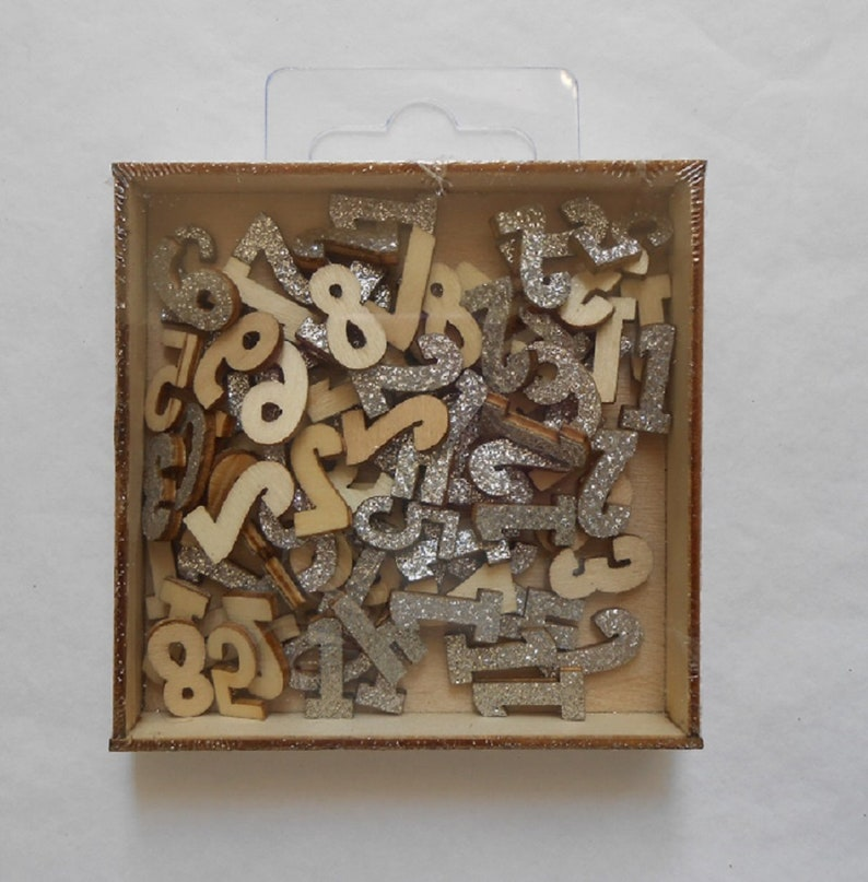 Wooden Numbers Silver Or Gold Glitter Numerals Decoration Etsy