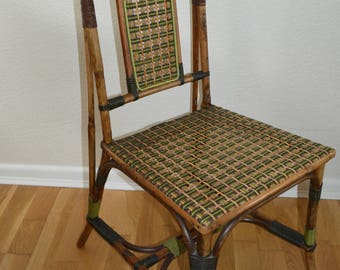 A Very Atractive Vintage Cane Chair By Maple And Co In The Arts And Crafts  Style .