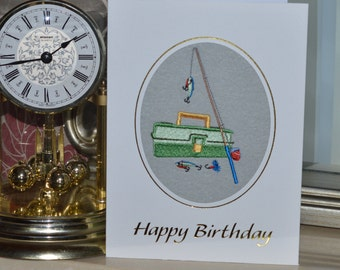 Machine embroidered  hand finished Birthday Card -  Fishing Rod and Tackle .