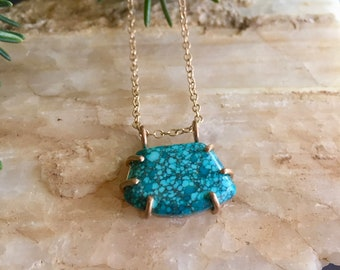 Turquoise and Gold Necklace with Prong Setting // Turquoise Pendant