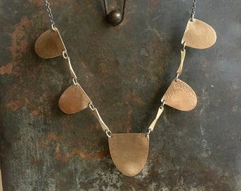 Arcos Necklace // Brass Statement Necklace // Brass and Oxidized Silver Necklace