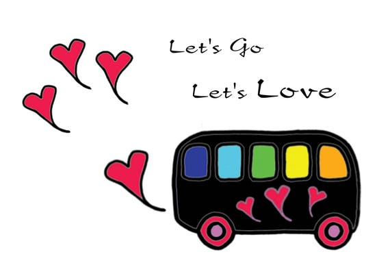 Baby Red Black White Rainbow Love Bus Download Etsy