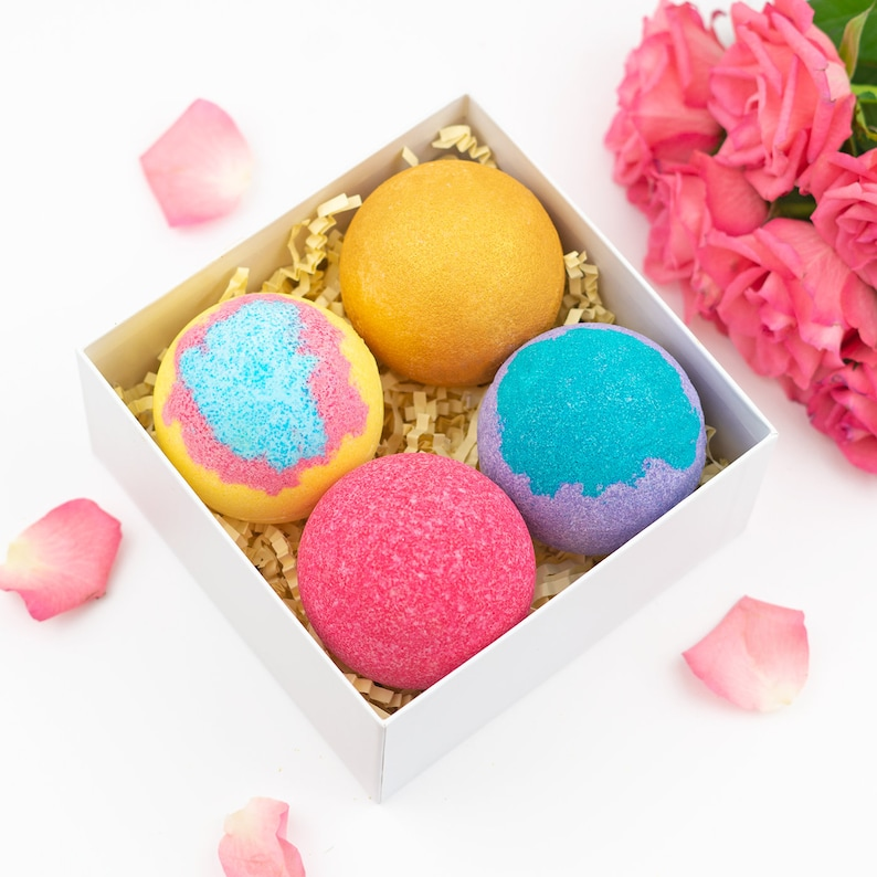 XL Bath Bomb Gift Set Spa For Her Vegan Pamper Box Kit