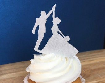 Wedding, Edible Paper Cupcake Topper, High Five Bride, Cake Decorations, Bride and Groom, Edible, Wafer Paper