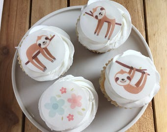Baby Sloth Sleepy Sloth Cupcake Toppers, Sloth Baby Shower, Flat Printed Thin Edible Paper Cupcake Topper, Wafer Paper, Read Item Details