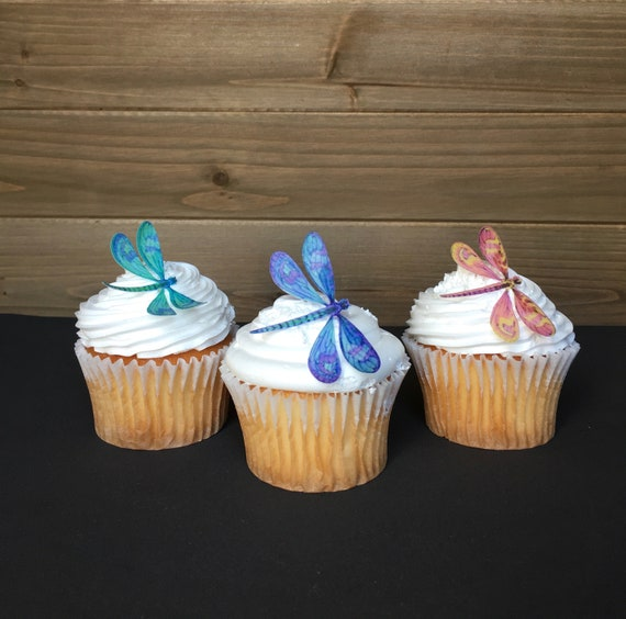 Dragonfly Cake Or Cupcake Toppers For Wedding Birthday And Bridal