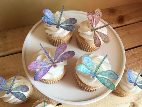 Dragonfly Cupcake Toppers 36 Dragonflies Wedding Bridal Shower