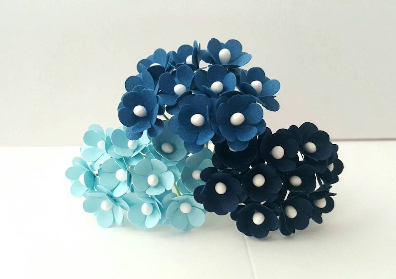 75 flowers Small blue paper flowers 10mm