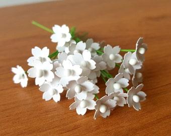 Bulk paper flowers etsy 100 miniature white paper flowers 5mm white flowers dollhouse flowers white filler flower mightylinksfo