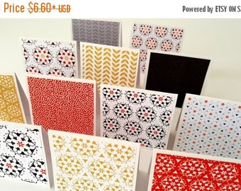 NoteCard Set of 12 / 3 x 3 cards / Small note cards / small cards / orange cards