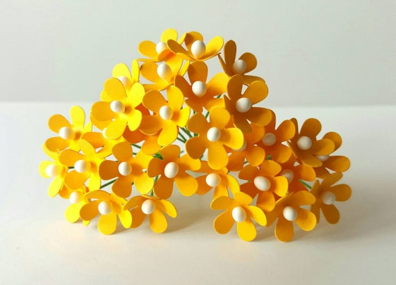 25 yellow paper flowers small yellow paper flowers mini etsy image 0 mightylinksfo