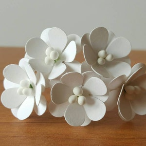 10 White paper poppies  mini paper poppies  mini white paper flowers  mini white flowers  paper flowers white  handmade white flowers