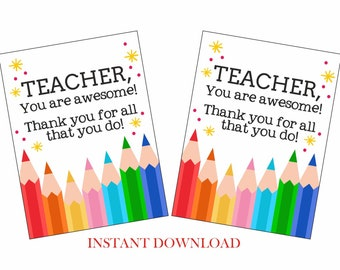 Printable teacher appreciation tag / Teacher thank you tags printable / Teacher gift tags / Teacher gift tag printable / Teacher tags / PDF