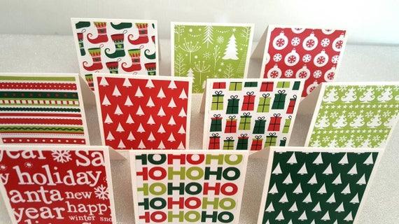 Christmas Notecards.Mini Christmas Note Cards Mini Christmas Notecards Mini Christmas Notes Mini Christmas Cards Set Of 10