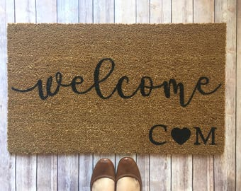 personalized doormat welcome doormat engagement gift couple doormat custom doormat initials doormat christmas gift christmas gift for couple