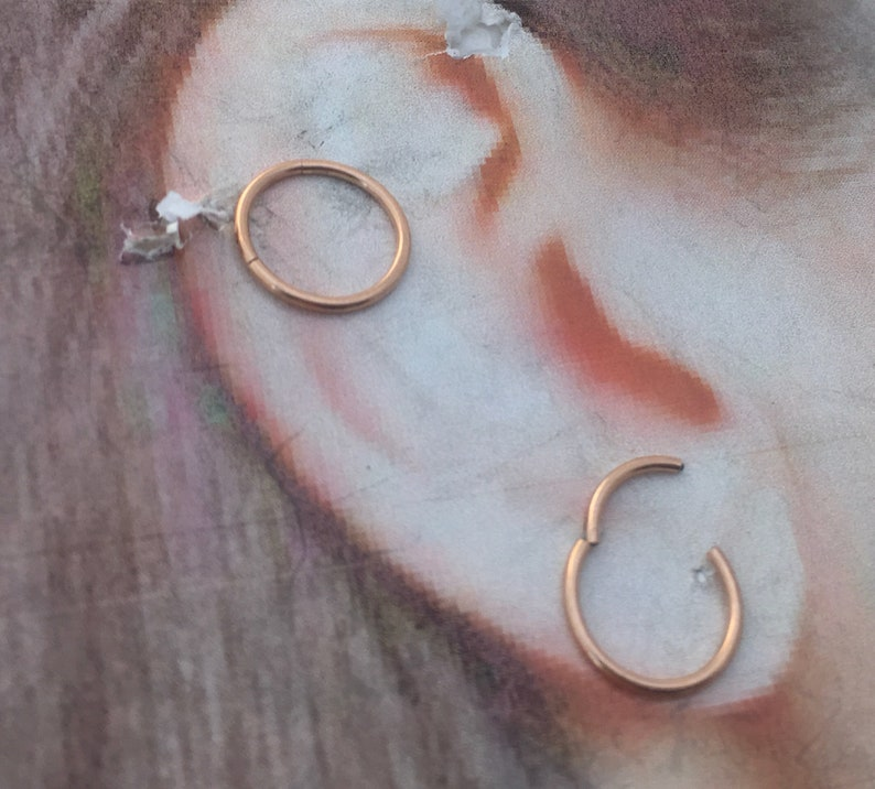d24252c4808 Rose gold sleeper hoops, Surgical Steel Hinged Segment Rings, 18g,  8mm,10mm,diameter for ears, cartilage