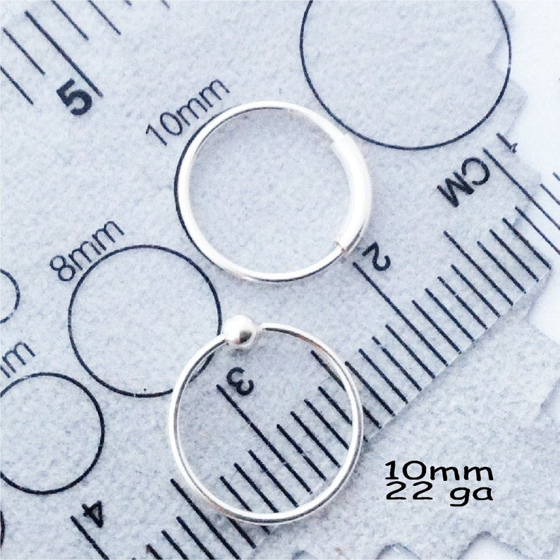 DIY add beads 22gauge Nose Ring Set,Sterling Silver two piece set Captive ball /& captive ring hoop cartilage piercing
