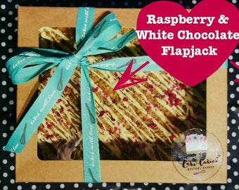 Raspberry and White Chocolate Flapjack, Oatie Traybake, Family Sharing Tray, Homemade Flapjack, Sweet Treat, Gift for Someone Special