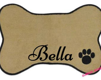 Personalized Pet Dish Mat, Dog Mat, Cat Mat, Pet Feeding Mat, Bone Shaped Placemat, Pet Accessory, Pet Supply, Puppy Gift, Dog Mom, Dog Deco