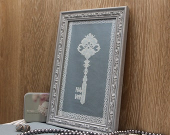 Finished cross stitch framed vintage key home decor wall art embroidery