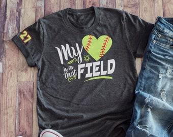 ca76e1ed6 Softball Mom GLITTER VINYL Tee, Personalized My Heart is on that Field  Softball Mom Shirt, Custom Softball Wife Shirt, Softball Aunt Shirt
